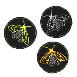 Bügelbilder mini Motten Flicken schwarz kleine Bügelbilder Falter neon Aufbügler für kleine Löcher 3 er Set Nachtfalter