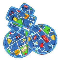 Hosenflicken Set rund Auto Flicken Pflaster Fahrzeuge Knieflicken blau Bügelflicken Pack Strassenkarte Kinder Bus Aufbügler City