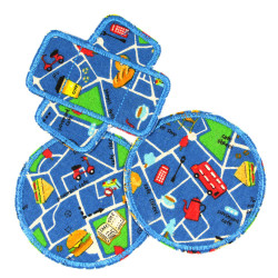 Pants Patches Set Round Car Patch Paving Vehicles Knee Patch Blue Iron-on Patch knee Road Map Kids Bus repair Patch City