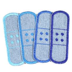 Pflaster Flicken Set 4 Bügelflicken in hellblau Jeansflicken zum aufbügeln Hosenflicken blau kleine Knieflicken