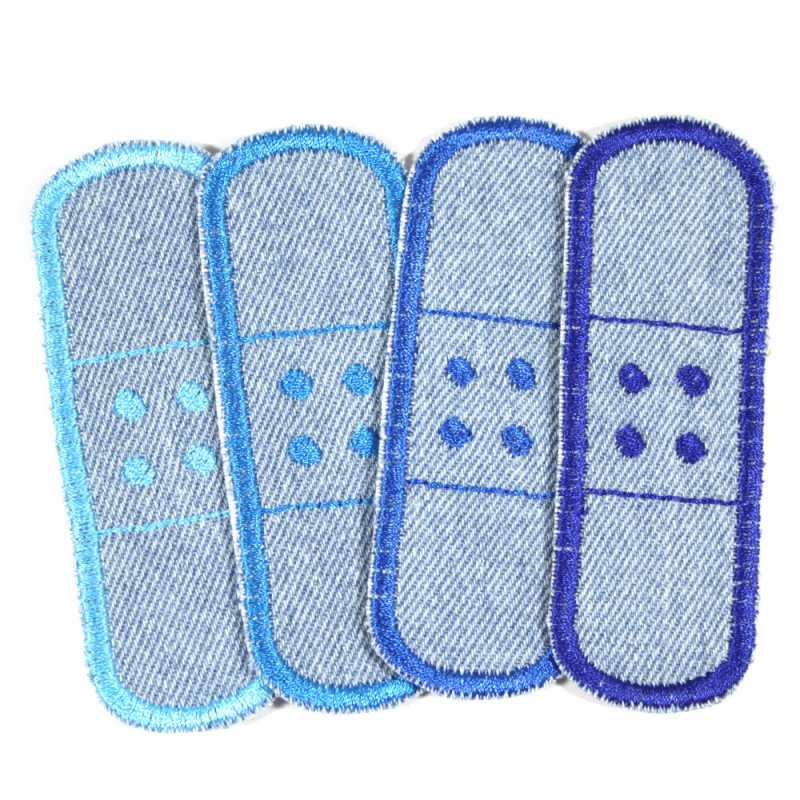 Iron-on Patch Set 4 repair patches in light blue Jeans patches to iron on pants patches blue small knee patches stick patch