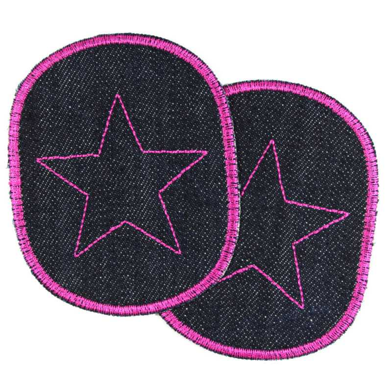 Iron-on Patch Set Girl pants Patch Star pink knee-Patch organic denim mending Patch 10 x 8 cm for ironing with stars