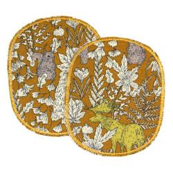 Bügelflicken Tiere mit Pflanzen Flicken Set XL Aufbügler Bär, Elch, Biber Blumen Hosenflicken Knieflicken ocker beige Flicken