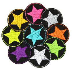 Bügelflicken Stern Set 9 mini Flicken Neon Sterne auf schwarz Aufbügler bunte kleine Patches Hosenflicken