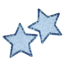 2 Iron-on patches stars blue denim multicolor patch textile repair patches 2 appliques small star set 7cm