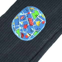 2 iron on patches cars and trucks on dark blue pants patches for children