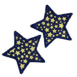 Stars iron-on patches set with golden stars to iron on 2 patches iron-on patches 7cm patches 2 small appliques