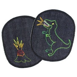 2 iron on patches motiv dino and volcano large pants patches for kids