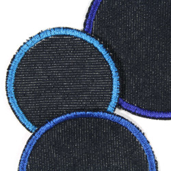 3 simple blue iron on jeans patches in 3 sizes