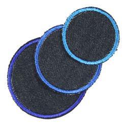 circle, dots and round iron on patches blue appliques