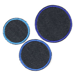 3 iron on patches jeans blue circle appliques dots