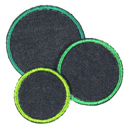 3 circle appliques blue jeans fabric and green trim embroidery