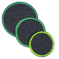 3 appliques as textile repair iron on patches blue jeans and green trim