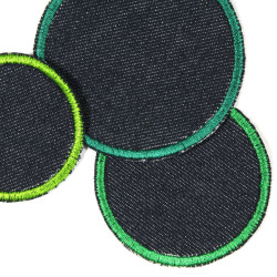 3 round iron on patches blue denim jeans appliques green trim