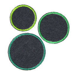 3 iron on patches blue dots jeans appliques green trim