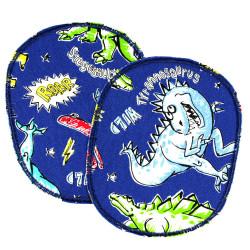 2 large iron on patches dinosaur on blue