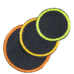 3 circle patches simple jeans iron-on patches trouser appliques and knee patches for kids