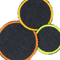 3 iron-on patches jeans blue neon yellow orange simple appliques