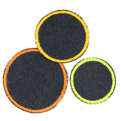3 patches to iron on jeans patches blue neon yellow orange iron-on textile repair appliques