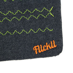 Flickli jeans patches for adults with simple graphics yellow and label orange neon on jeans blue to iron on