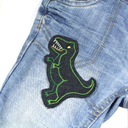 Dino iron-on patches jeans on trousers light blue, iron-on applique for kids