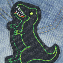 large Dino iron-on patches for kids