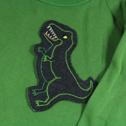 Dino patch for children as a patch to iron on children's sweater green