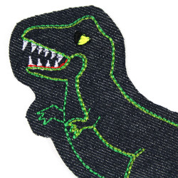 Large Dino iron-on patch embroidered on blue green yellow neon metallic jeans