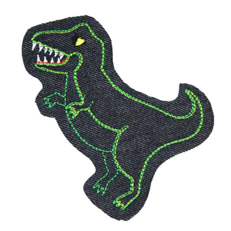 Dino patch jeans patch to iron on blue green metallic and neon yellow