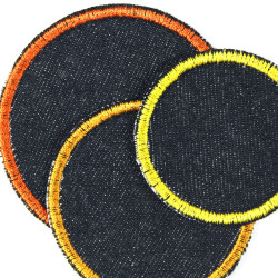 3 round iron-on patches circles dots blue yellow orange jeans textile repair