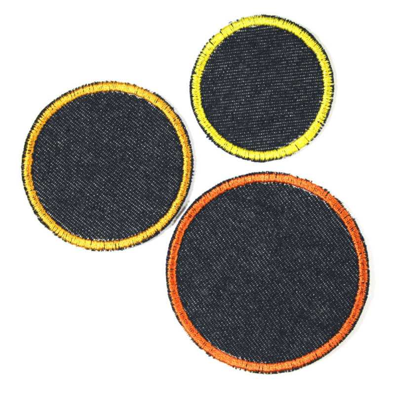 3 iron on patches on jeans blue yellow orange simple appliques