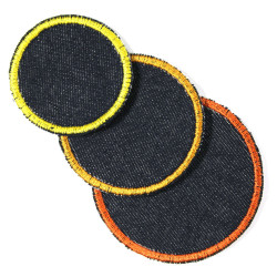 3 circle patches simple jeans iron-on repair patches and knee patches for kids
