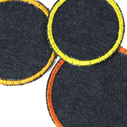 3 iron-on patches appliques for visible mending blue yellow orange textile repair patches