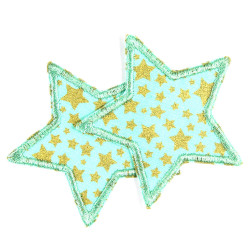 2 star appliques to iron on small mint golden iron-on patches