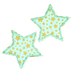 2 mint-colored small iron-on patches with golden stars