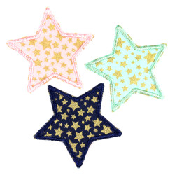 7 cm star patch to iron on for kids pink blue and mint with gold stars