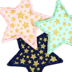 Fabric patches stars iron-on patches and appliques with gold stars