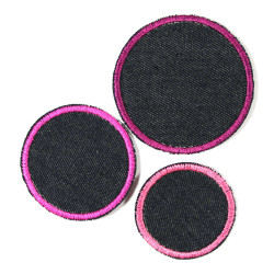 3 patches to iron on jeans dark blue with pink border