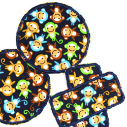 2 round patches and 1 plaster patches with colorful monkeys for kids