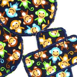Knee patches for children with colorful monkeys 3 trouser patches to iron on