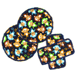3 textile repair patches as iron-on patches with monkeys for children's pants