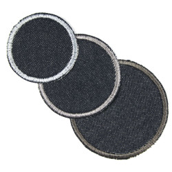 3 patches of jeans with gray silver anthracite on blue as simple iron-on patches