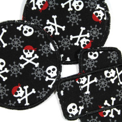 2 round and 1 plaster iron on patches with skulls and crossbones on black for kids