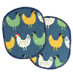 2 iron-on patches with chicken motif large textile repair appliques for trousers