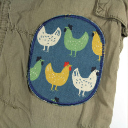 Chickens on petrol blue iron-on transfer for children as trousers patches on khaki kid's trousers