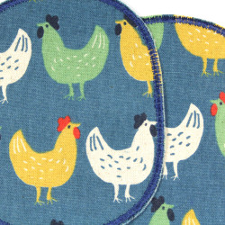 2 patches for children iron on motif chicken on blue petrol details