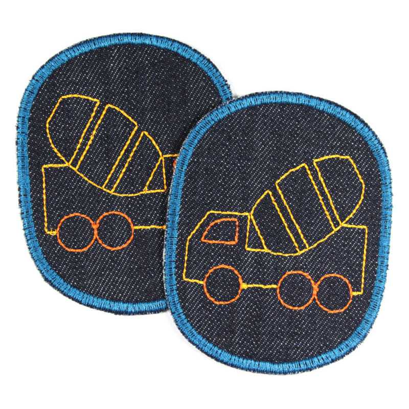 2 patches for ironing on for children with truck concrete mixer vehicle motif for repairing pants