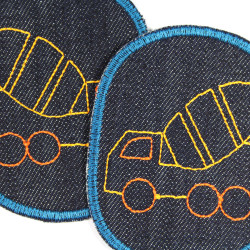 2 patches with garbage truck embroidery on blue organic denim textile repair patches for kids