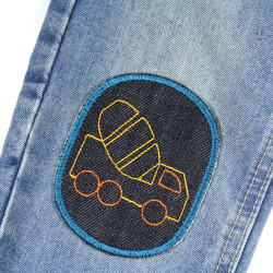 Iron-on patches with truck car on jeans light blue for children to iron on