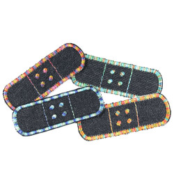 4 patches for ironing on for adults small plaster jeans iron-on patches with gradient yarn embroidered in orange blue
